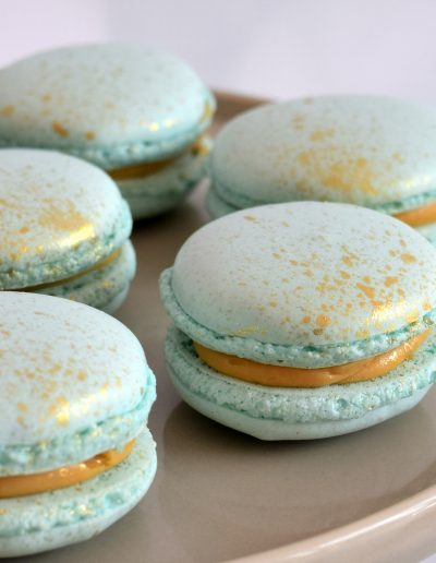 Speckled gold macarons