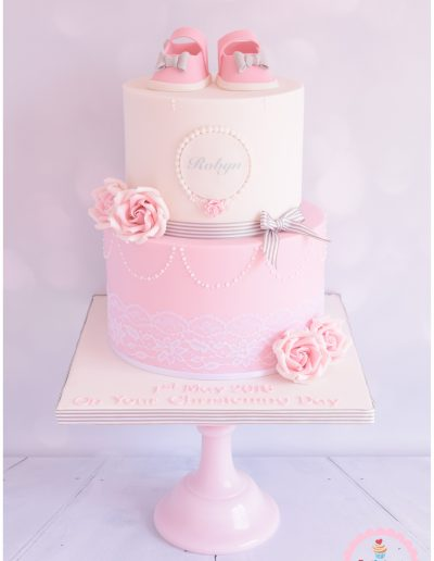 Christening Cake Roses & Shoes