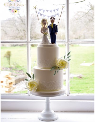 Two Tier - Lace & Rose with bespoke handcrafted topper