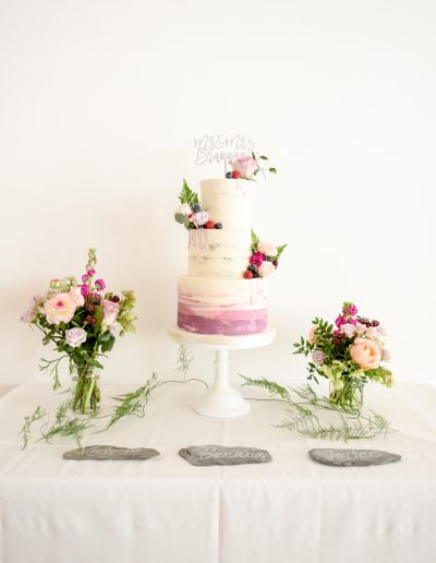 Plum Hue Watercolour Semi Naked Cake at The Green Weddings In Cornwall