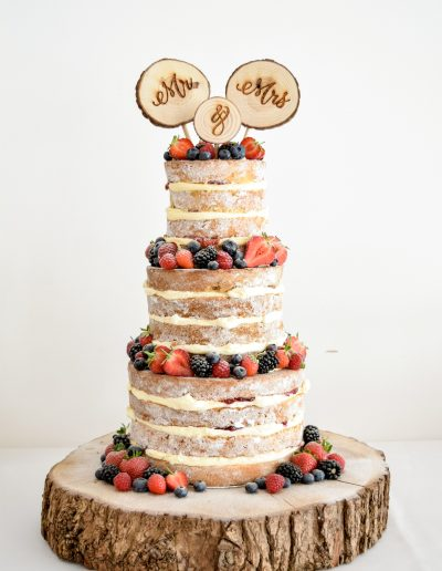 Naked Cake with fresh fruit and berries @ The Green Weddings In Cornwall