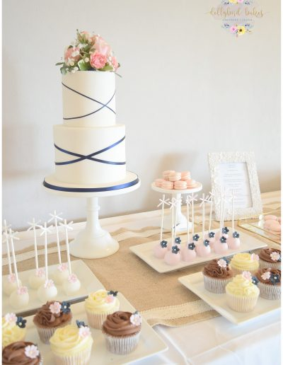 Blush & Navy mini dessert table