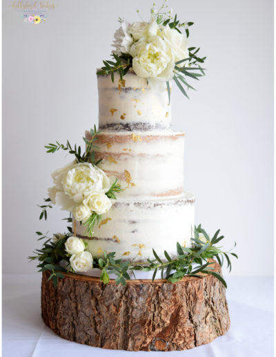 Peony & Foliage - Semi Naked cake with gold leaf accents