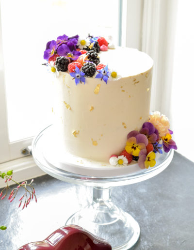 Bright Elopement Cake At The Green Weddings In Cornwall