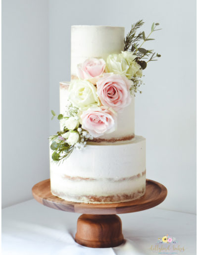 Pretty Floral Cascade on a Semi Naked Cake