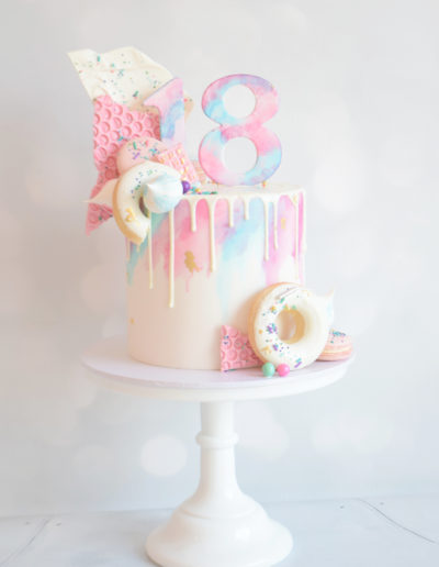 Watercolour Donut Drip Cake - Dollybird Bakes