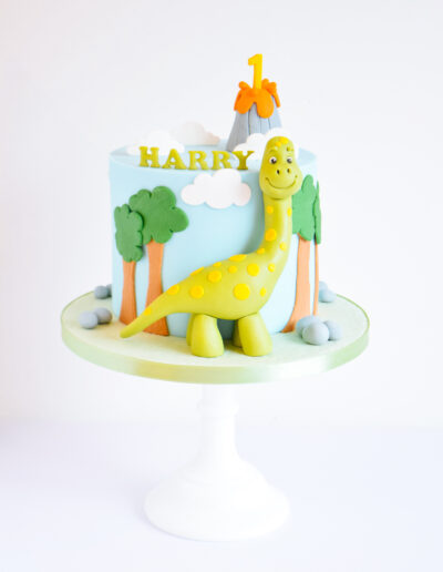 Cute 1st Birthday Cake - Featuring a handmade green dino, a volcano and trees.